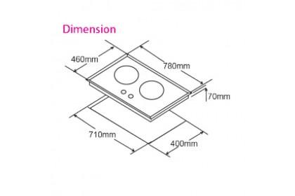 Senz SZ-GS388 Twin Burner 6.4KW Tri-Rinz Safety Flame Sensor 8mm Tempered Glass Hob