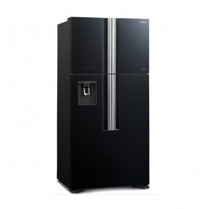 Hitachi R-W720P7M GBK BLACK 540L 4 Door French Glass Door Inverter X Dual Fan Cooling Nano Titanium Tank Water Dispenser Refrigerator